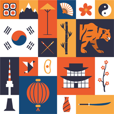 South Korea. Korean cultural symbols. Set of flat icons. Traditional cuisine and clothes, nature and landmarks, etc. Isolated elements on color background.