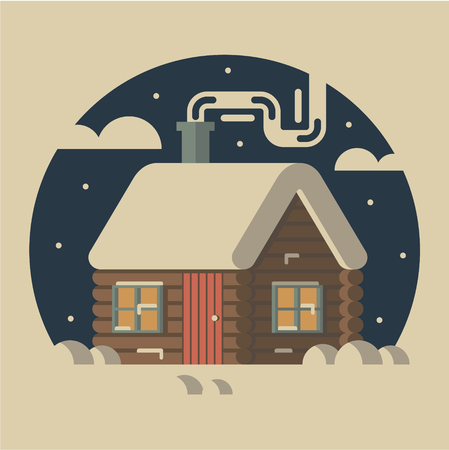 flat illustration, icon, house in winter forest.