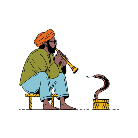 India, snake and charmer. Man with flute and cobra. Vector summer illustration, white background