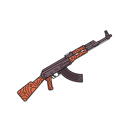 automatic machine icon in outline style on a white background. Russian assault rifle AK-47.