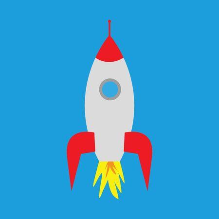 cartoon rocket on a blue background Illustration