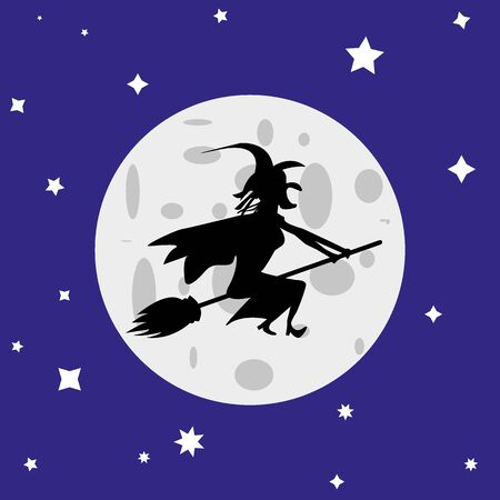 witch flies on a broomstick against the full moon Illustration
