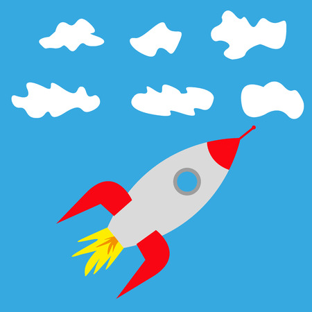 rocket in clouds in the sky Stock Vector - 88306209