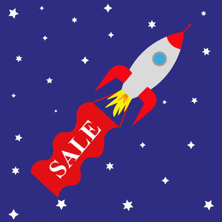 space rocket with banner sale