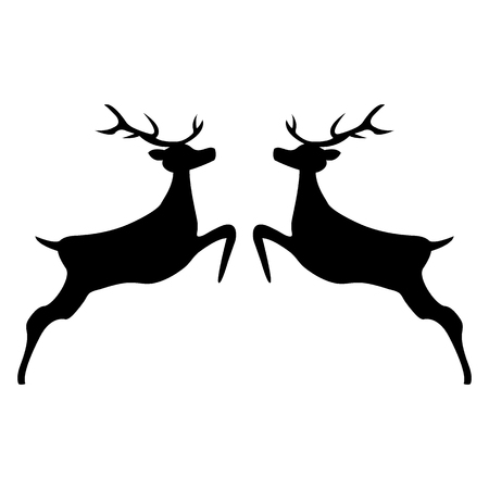 Two reindeer jumping together on a white background