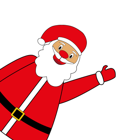 Santa Claus standing on a white background, vector illustration