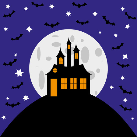 ハロウィン カード魔女の城やコウモリ  イラスト・ベクター素材