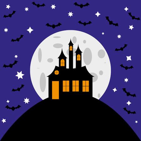 할로윈 카드 마녀 성 및 박쥐