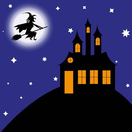 빗자루에 마녀 성으로 날아간다.