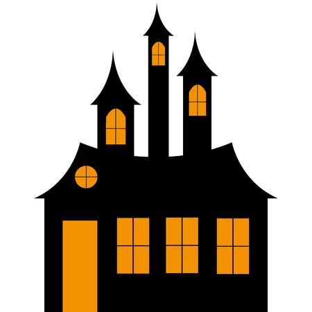 魔女の城 hellowin  イラスト・ベクター素材