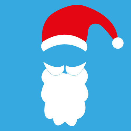 Template For Photo Mustache With A Beard And Cap Of Santa Claus
