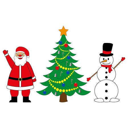 Snowman and Santa Claus with Christmas tree Illustration