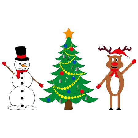 snowman and deer at decorated Christmas tree