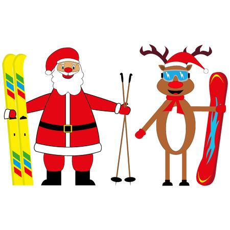 santa claus skier and deer snowboarder Ilustração