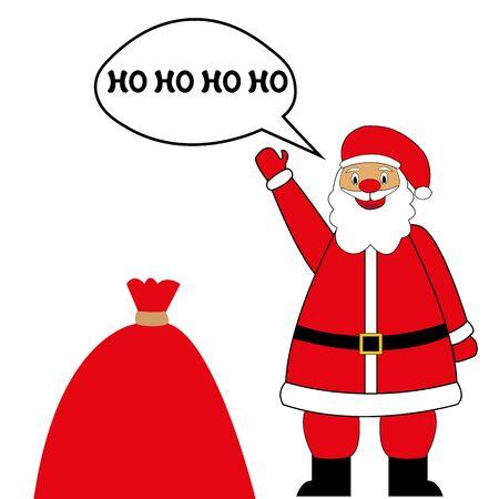 santa claus and bag with holiday gifts