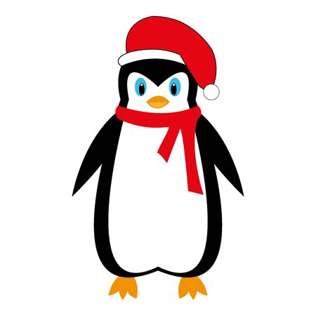 Cartoon New Years penguin on white background illustration