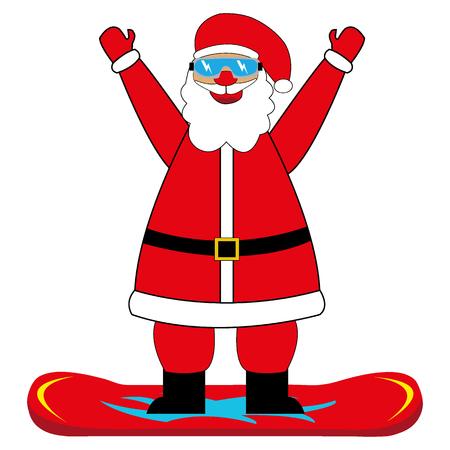 A cheerful cartoon santa claus snowboarder