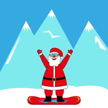 A santa claus snowboarder on white background. Illustration