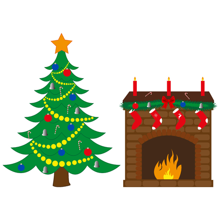 Fireplace and Christmas tree against white background.