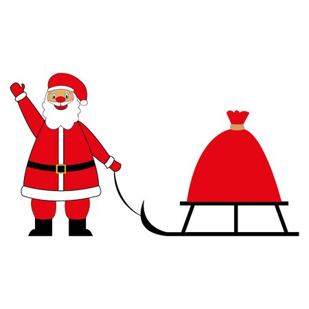 Santa Claus carries a bag with gifts on a sleigh. Illustration