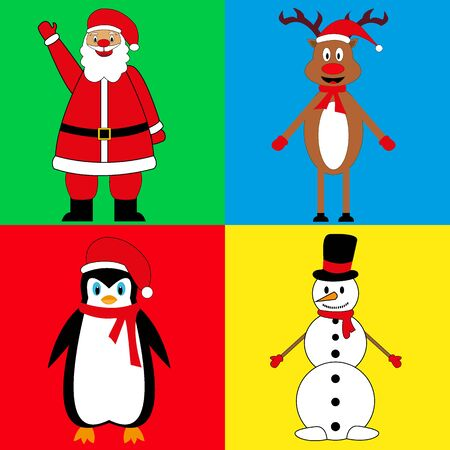 grandfather frost: New Years characters, Santa Claus deer snowman and penguin