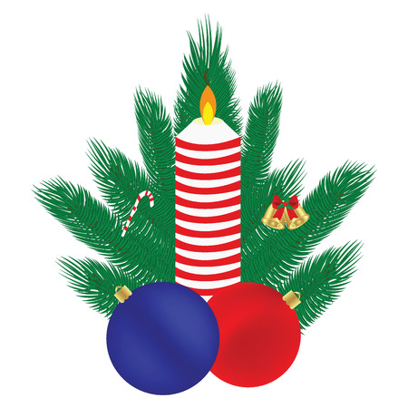 Christmas composition, candle balls, branches of a Christmas tre