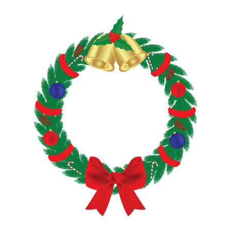 Christmas composition, a circle of fir branches, a bow and bells