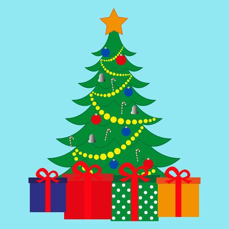 Christmas tree and gifts on a blue background. Illustration
