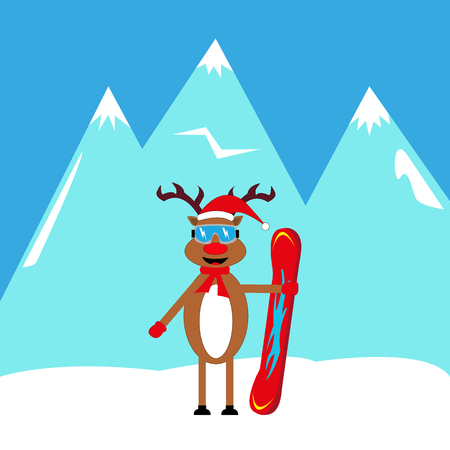 Deer holding a snowboard icon.
