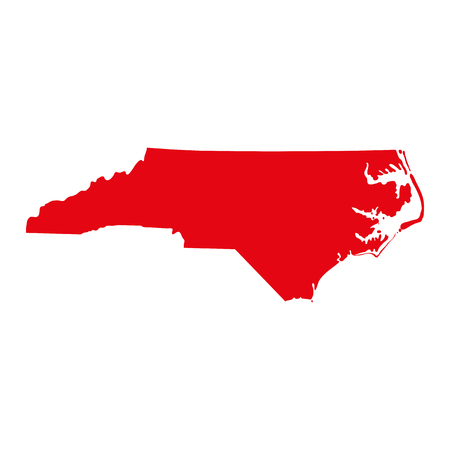 A map of the U.S. state of North Carolina vector