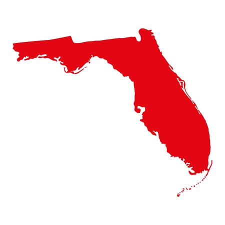 Map of the U.S. state of Florida. 일러스트