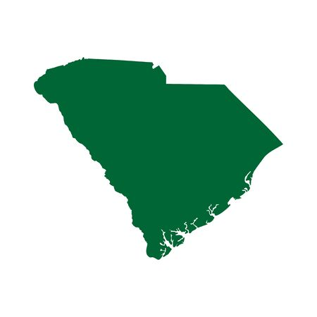 A map of the U.S. state of South Carolina isolated on plain background. Ilustração