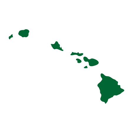 A map of the U.S. state of Hawaii isolated on plain background.
