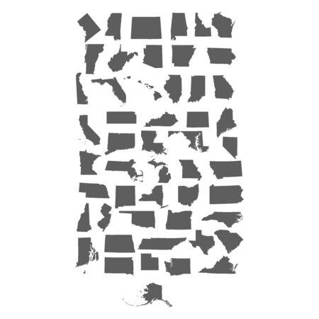 Set of US states maps vector illustration 일러스트
