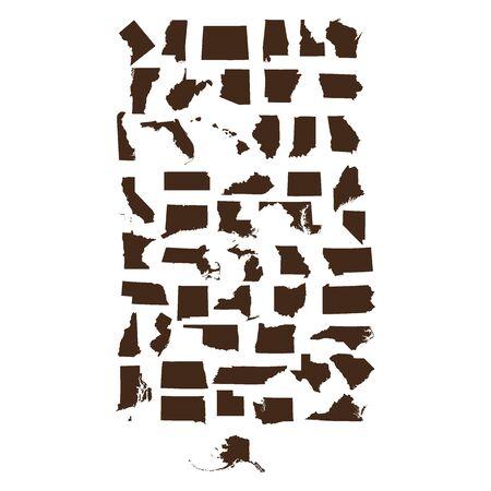 set of US states maps Illustration