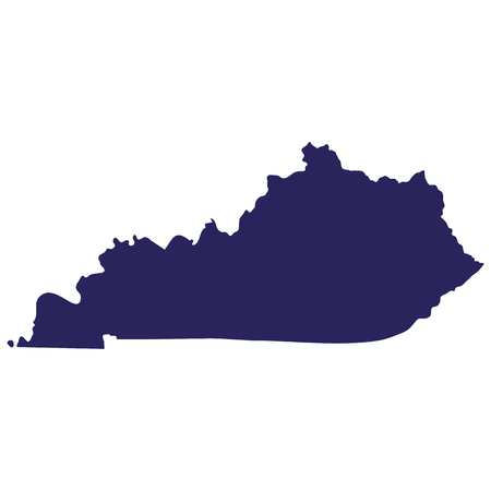 Map of the U.S., state of Kentucky in silhouette illustration. Illustration