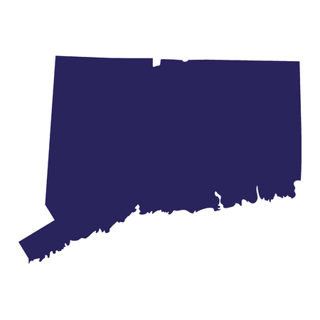 Map of the U.S. state of Connecticut in silhouette illustration.