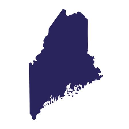 Map of the U.S. state of Maine in silhouette illustration. Ilustração