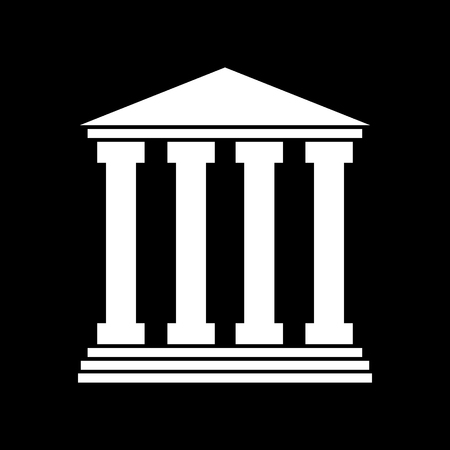 icon of courthouse - white illustration on black background