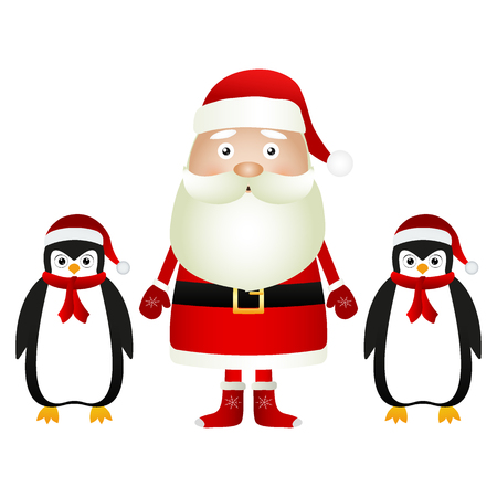 Santa Claus with penguins in caps and scarves on a white background