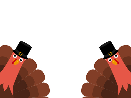 Two funny Thanksgiving turkey on white background Stock Illustratie