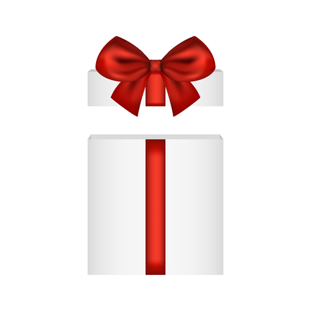 Gift in a box with a red bow on a white background