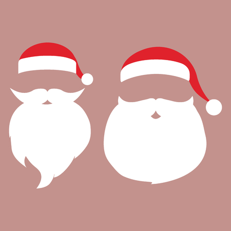 Cap and mustache with a beard of Santa Claus on a white background. Photo mask template accessory