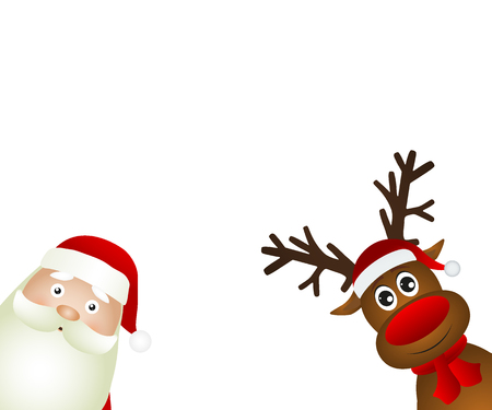 Santa Claus and reindeer on a white background