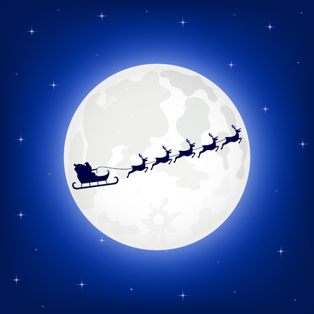 Santa Claus is flying in a sleigh on the northern Christmas deer on the background of the moon at night