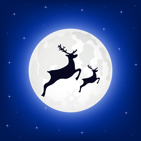 Silhouette of reindeer against the moon at night