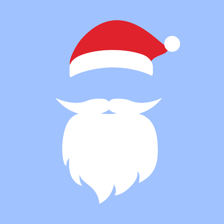 Cap and mustache with a beard of Santa Claus. Photo mask template accessory