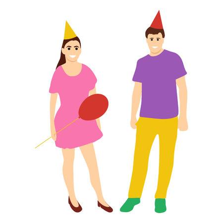 Animators in holiday caps woman with a man on a white background with a balloon. People Icons, Flat Design Illustration