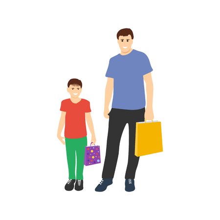 Father with son shopping on white background Ilustrace