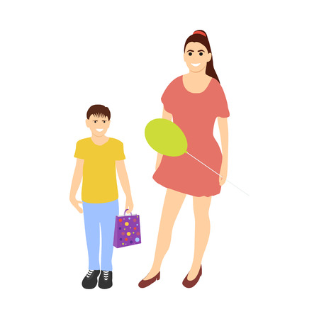 Mom and son shopping from the sale on white background